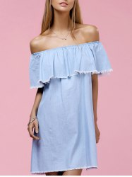 Chic Off The Shoulder Flounce Solid Color Fringed Women's Dress -