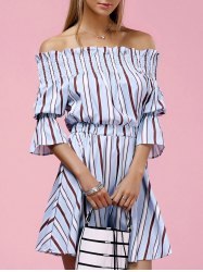 Off The Shoulder Striped Mini Dress