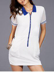 Casual Turn-Down Collar Short Sleeve Openwork Dress For Women -