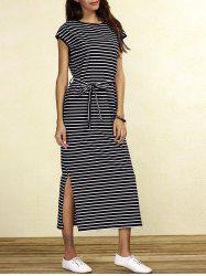 Slit Midi Striped Casual Dress