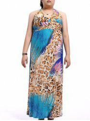 Plus Size Halter Empire Waist Leopard Maxi Dress