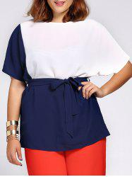 Chic Short Sleeve Color Block Waist Tied Plus Size Blouse For Women