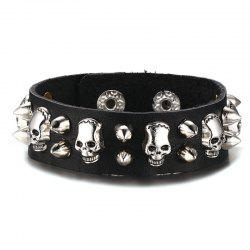 Vintage Faux Leather Skulls Rivet Bracelet