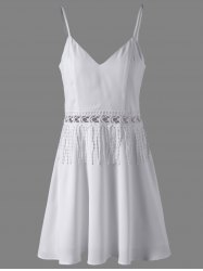 Women's Stylish White Crochet Tassel Insert V Neck Dress -
