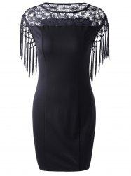 Fashionable Round Collar Lace Spliced Cuff Fringed Skinny Dress For Women