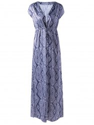 Empire Waist V-Neck Short Sleeve Printed Maxi Dress - STRIPE L
