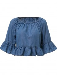 Bleach Wash Denim Ruffle T-Shirt - ICE BLUE S