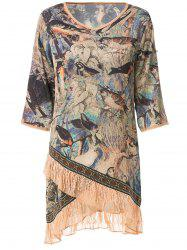 Stylish V-Neck Half Sleeve Bird Print Women's Dress