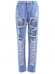 Fashionable Bleach Wash Ripped Jeans For Women -