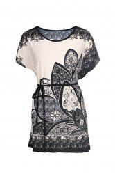 Retro Style Scoop Neck Floral Print Batwing Sleeve Women's Blouse -