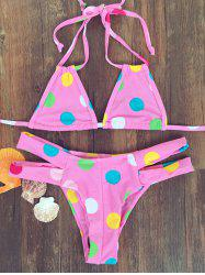 Cute Halter Polka Dot Bandage Bikini Set For Women