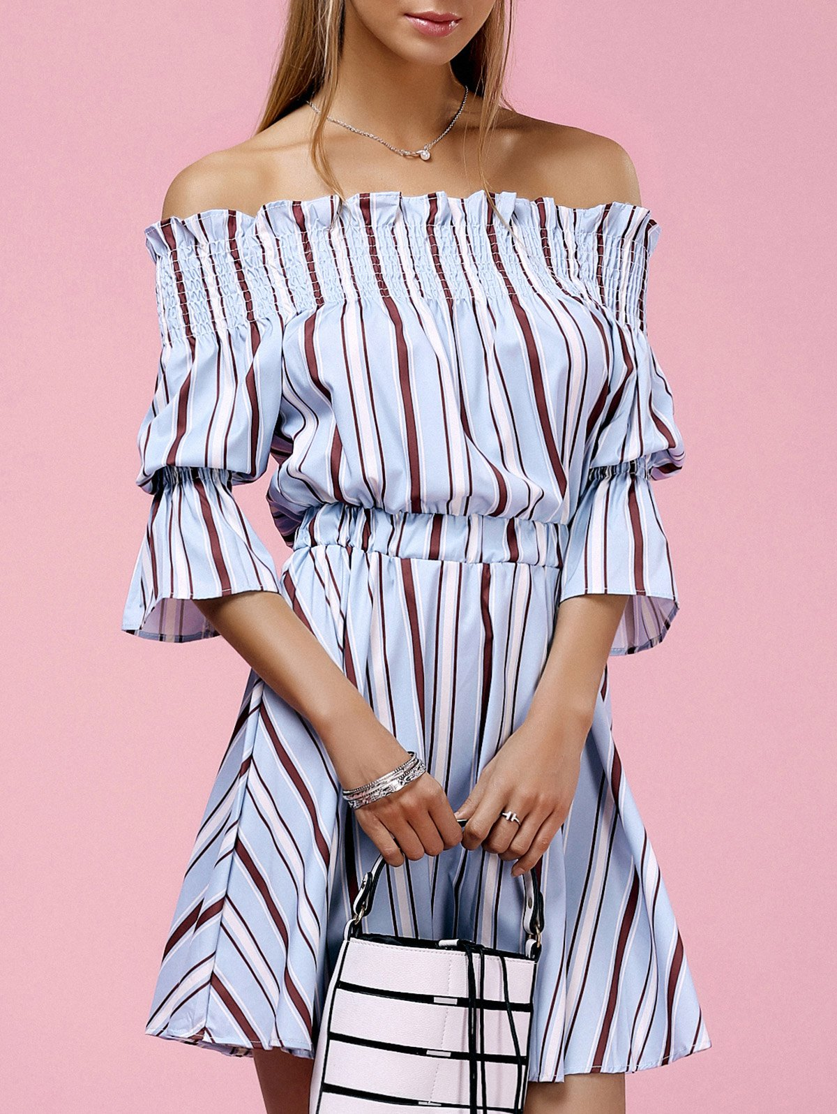 Store Off The Shoulder Striped Mini Dress