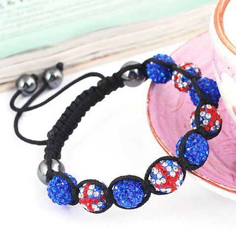 Shop Union Flag Red White and Blue Ball Weaving Bracelet