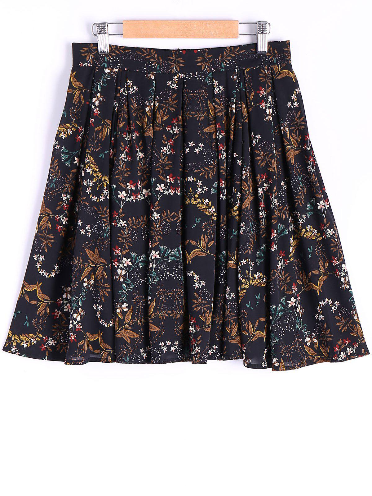 Outfit Elegant Floral Printing Zipper Skirt For Women