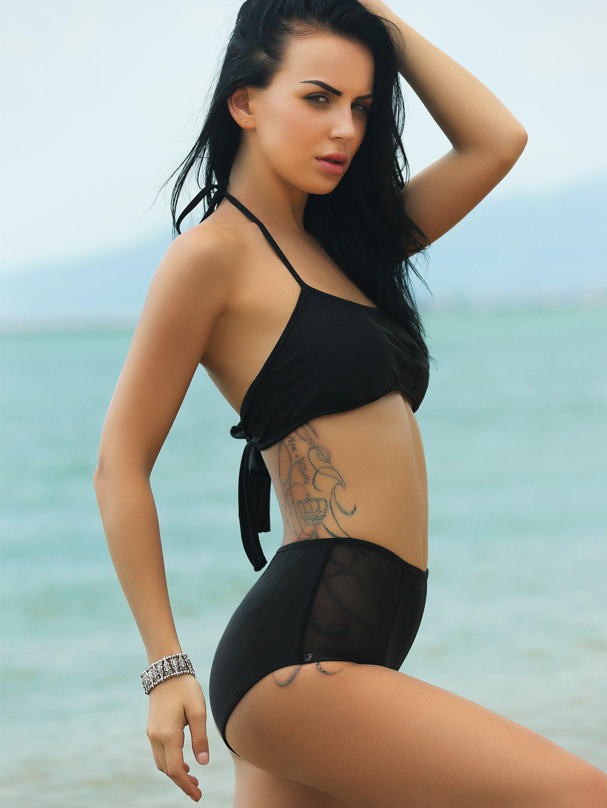 Black L Alluring Halter See-through Bikini Set For Women ...