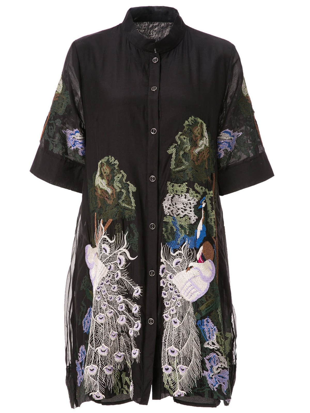 Shop Retro Style Stand Collar Peacock Embroidery Short Sleeve Dress For Women