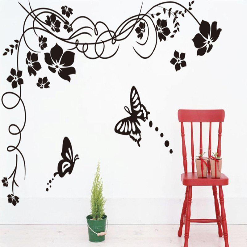 Discount Simple DIY Black Flowers and Butterfly Pattern Removable Wall Sticker