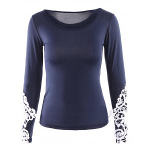 Scoop Neck Lace Trim Long Sleeve Tee