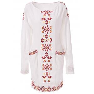 Vintage Long Sleeve Embroidered Shift Casual Dress - Off-white - S