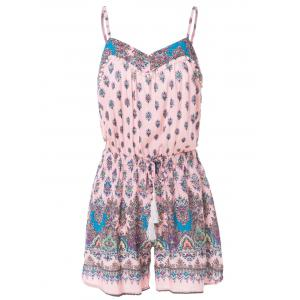 Stylish Spaghetti Strap Tiny Floral Drawsting Design Women's Romper - Pink - M