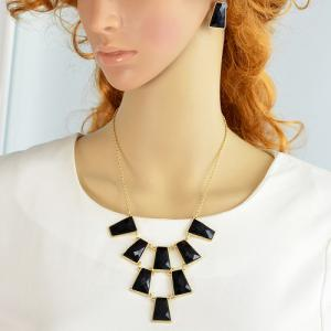 A Suit of Alloy Faux Gem Rectangle Necklace and Earrings - Black