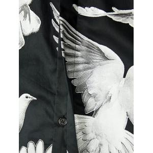 Doves Printed Plain Fly Shirt Collar Long Sleeves Shirt For Men - WHITE AND BLACK 3XL
