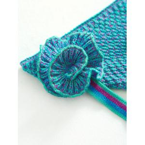Stylish Knitted Flowers Embellished Mermaid Tail Shape Blanket For Kids - GREEN