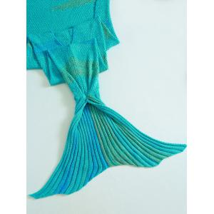 Crochet Stripe Pattern Mermaid Tail Shape Blanket -