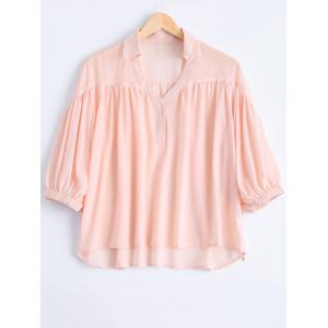 Fashionable V-Neck 3/4 Sleeve Strappy Blouse For Women