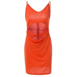 Spaghetti Strap Sleeveless Low-Cut Hollow Out Casual Dress