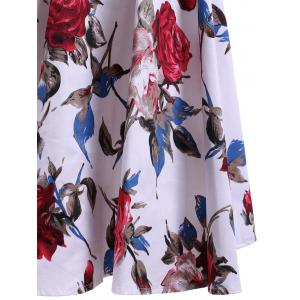 Retro Rose Print Sweetheart Neck Bowknot Embellished Women's Dress - WHITE L