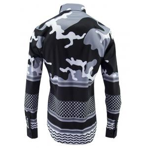 Abstract Color Block Plain Fly Shirt Collar Long Sleeves Shirt For Men -