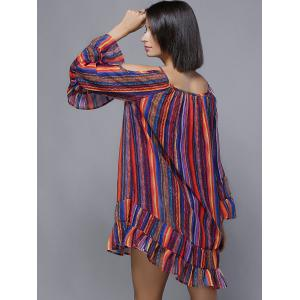 Cold Shoulder Colorful Striped Flouncing Lace-Up Dress -