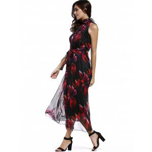 Sweet Stand Collar Sleeveless Floral Print Tied Chiffon Dress For Women -