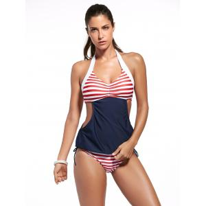 Sweet Halter Neck Striped Women's Tankini Set -