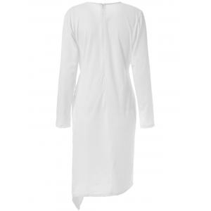 Round Neck Long Sleeve Asymmetrical Sheath Plus Size Dress - WHITE XL