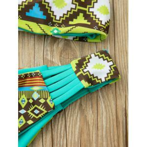 Ethnic Strappy Racerback Print Bikini Set For Women - GREEN S