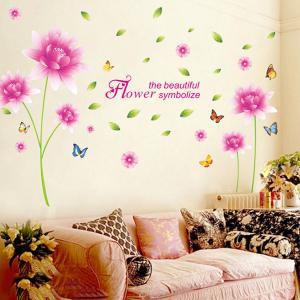 Fashion Home Decor Pink Lotus Flower Pattern Removable DIY Wall Sticker - PINK / GREEN