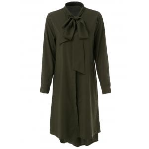 Casual Bow Collar Long Sleeve Asymmetric Shirt Dress For Women - Deep Green - L