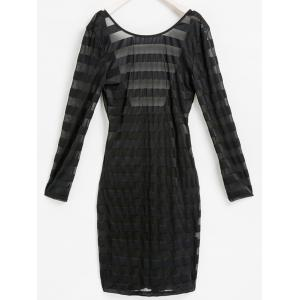 Sexy Scoop Neck Long Sleeve See-Through Bodycon Women's Stripe Dress