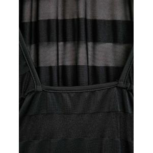 Sexy Scoop Neck Long Sleeve See-Through Bodycon Women's Stripe Dress - BLACK ONE SIZE(FIT SIZE XS TO M)