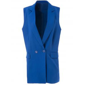 OL Style Shawl Collar Solid Color Bodycon Blazer For Women - Sapphire Blue - L