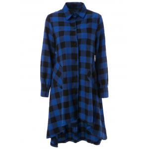 Asymmetric Long Sleeve Flannel Plaid Shirt Dress
