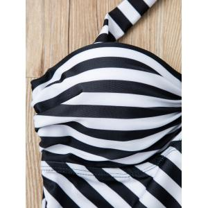 Refreshing Halter Striped Backless One-Piece Swimwear For Women -