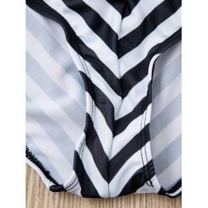Refreshing Halter Striped Backless One-Piece Swimwear For Women - WHITE AND BLACK M