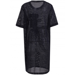 Stylish Short Sleeve Embroidered Fish Pattern Hollow Out Women's Dress -
