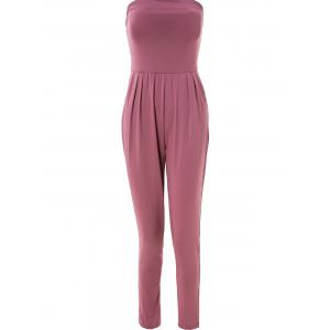 Charming Strapless Sleeveless Solid Color Pocket Design Jumpsuit For Women
