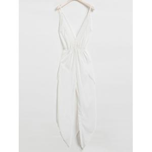 Sexy Plunging Neck Sleeveless White Backless Asymmetrical Jumpsuit For Women