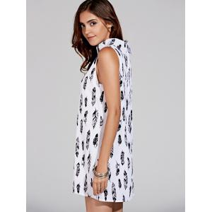 Stylish Stand Collar Sleeveless Print Dress For Women -