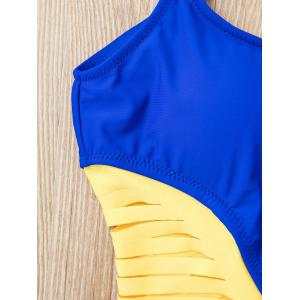 Chic Spaghetti Strap Strappy Hollow Out One-Piece Swimsuit For Women - BLUE L